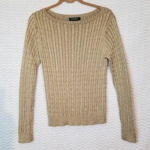Gold Ralph Lauren Metallic Glitter Sweater